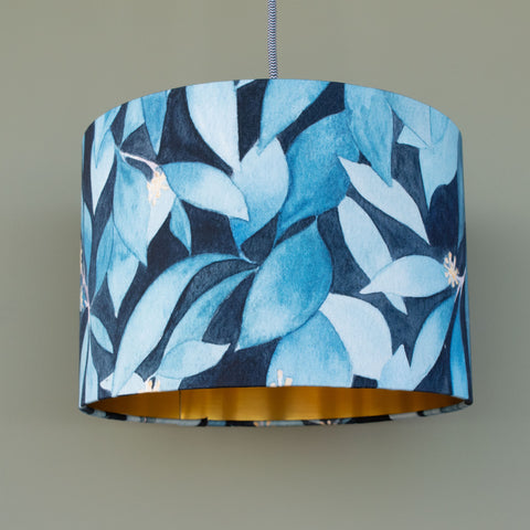 Gold lined ivy lampshade