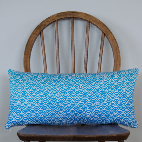 Oriental Seigiaha cushion, blue and white waves, printed cotton satin, designed and handmade by Hannah Knapton