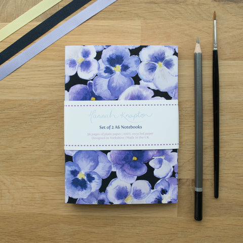 Pansy Set of Two A6 Notebooks