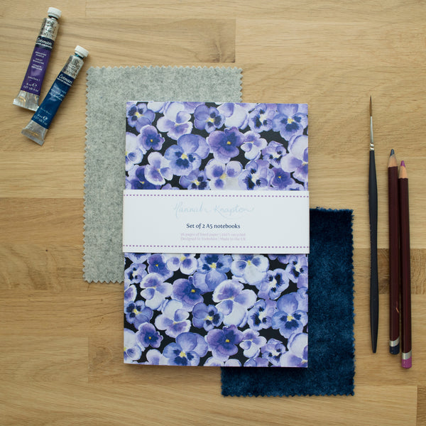 Pansy Notebook Set of Two A5 Notebooks