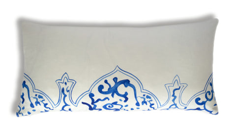 Oriental Qing cushion, blue and white, designed by Hannah Knapton