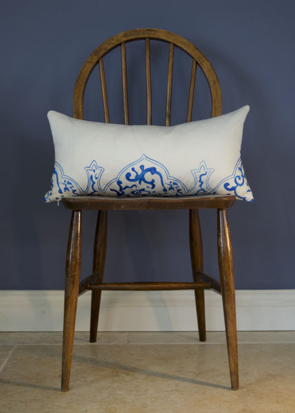 Oriental Qing cushion, 60x30cm, blue and white cotton satin, by Hannah Knapton