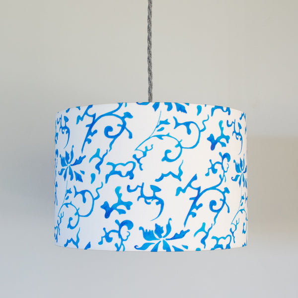 30cm blue and white qing cotton drum lampshade