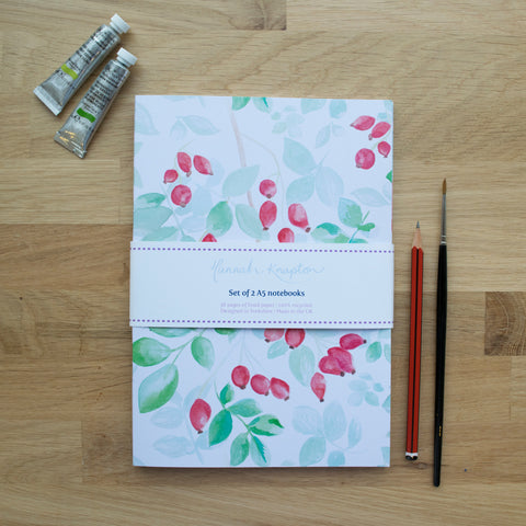 Rosehip Set of Two A5 Notebooks