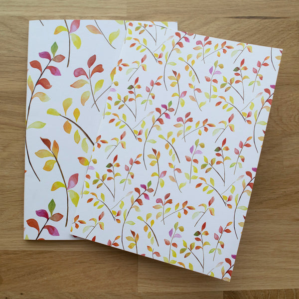 Small Bright Leaves Set of Two A5 Notebooks