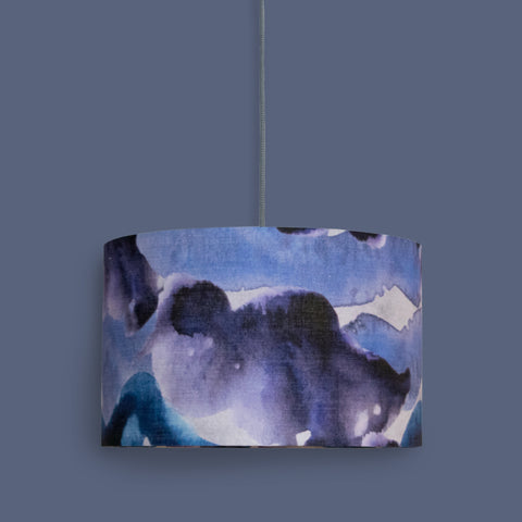 40cm stormy skies lampshade in cotton/linen, blue and purple abstract design