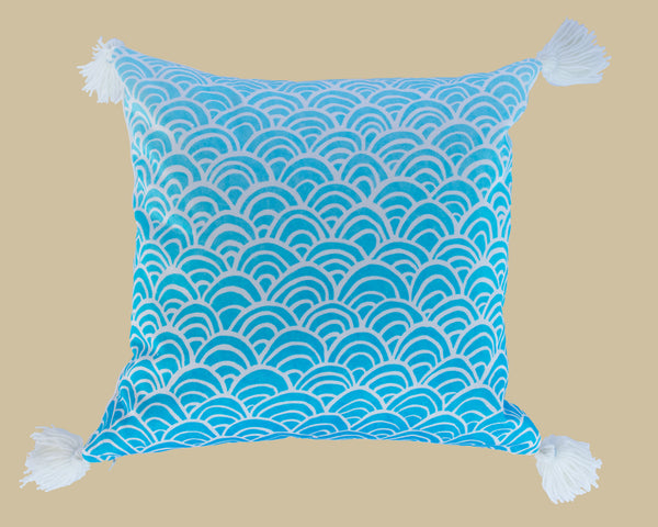 Oriental seigiaha tassel cushion, blue and white waves, printed cotton satin, designed and handmade by Hannah Knapton