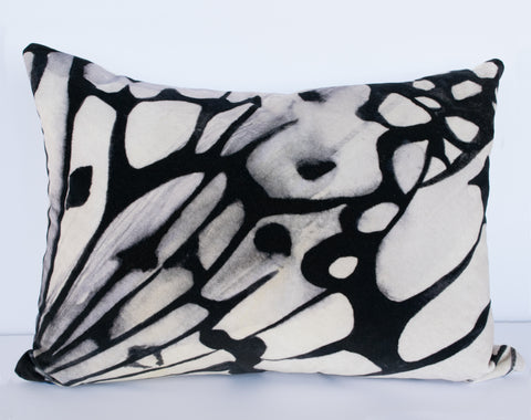 Velvet Black and White Butterfly Cushion