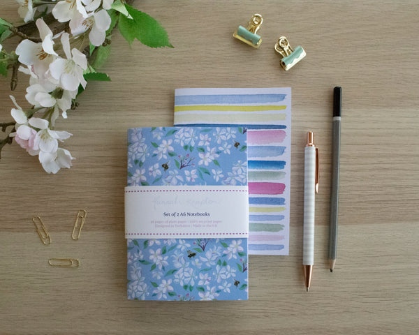 Spring Blossom Set of Two A6 Notebooks