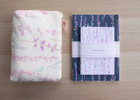 Heather cosmetic bag and notebook gift set