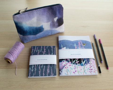 Stormy Heather cosmetic bag and notebook gift set