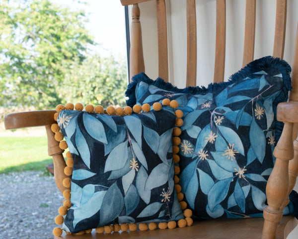 Fringed ivy and pom pom ivy cushions, handmade by Hannah Knapton