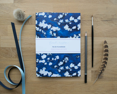 Midnight Blossom Set of Two A5 Notebooks