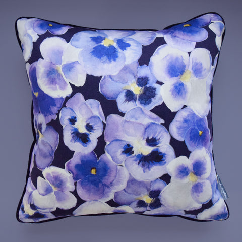 Pansy Velvet Piped Cushion