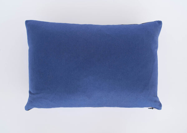 Hand dyed navy blue reverse of abstract velvet stormy skies cushion by Hannah Knapton