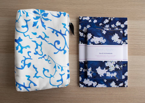 Qing and Midnight Blossom cosmetic bag and notebook gift set