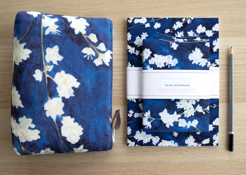 Midnight Blossom cosmetic bag and notebook gift set