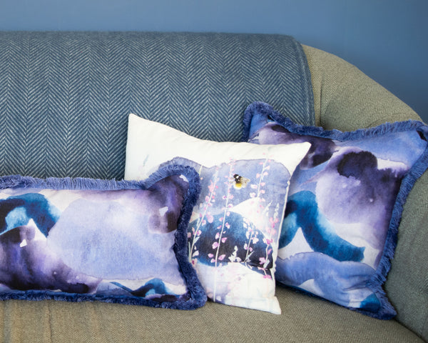 Fringed Stormy Skies Square Cushion