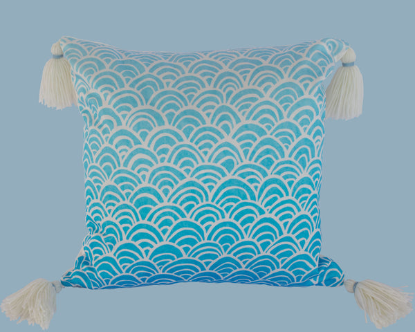 Oriental tassel cushion, blue and white ombre, designed and handmade by Hannah Knapton