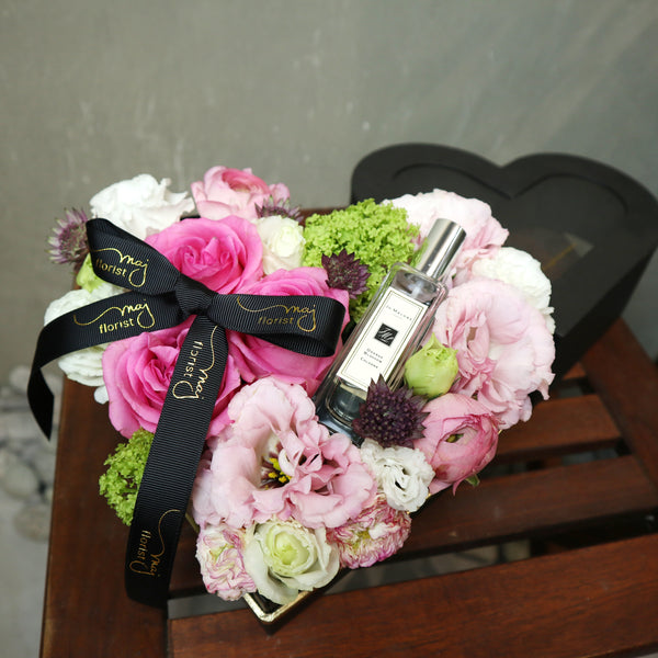 Mixed flowers with Jo Malone in a box