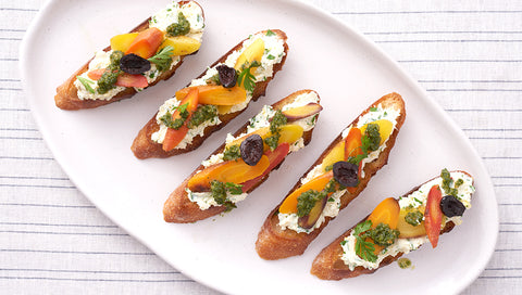 Heirloom Carrot Bruschetta with Carrot Top Pesto
