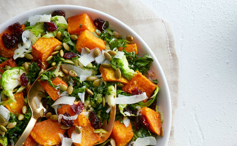 Roasted Butternut Squash, Kale and Brussels Sprouts Autumn Salad