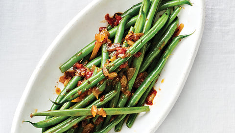 Spicy Maple & Caramelized Onion Green Beans