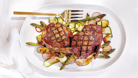 Moroccan Spiced Bone-In Filets & Shaved Asparagus with Honey-Harissa Vinaigrette