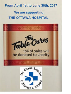 """THIS TABLE CARES"" SUPPORTS THE OTTAWA HOSPITAL – A GOLDEN PALACE CHARITY INITIATIVE"