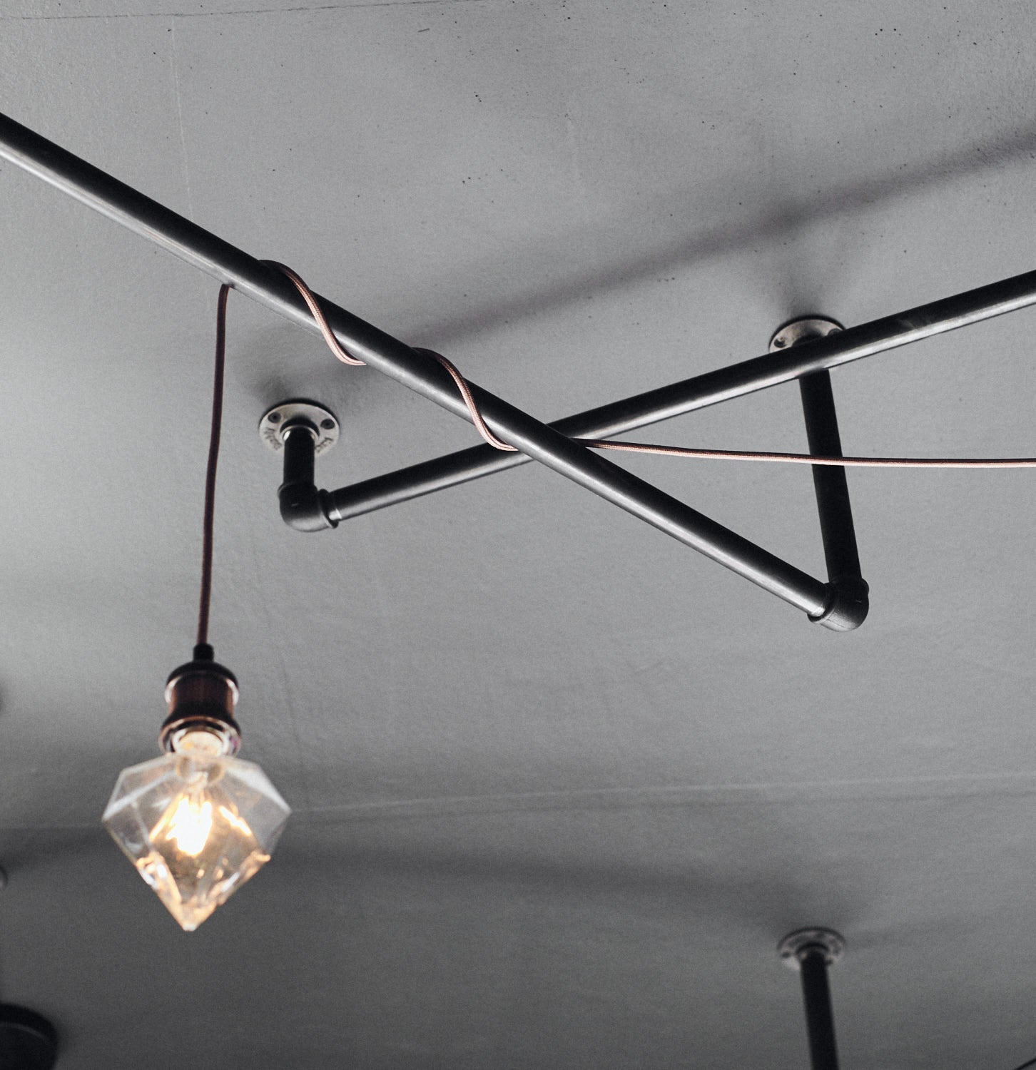 industrial design lightbulbs and lamp rails for ceiling attachment