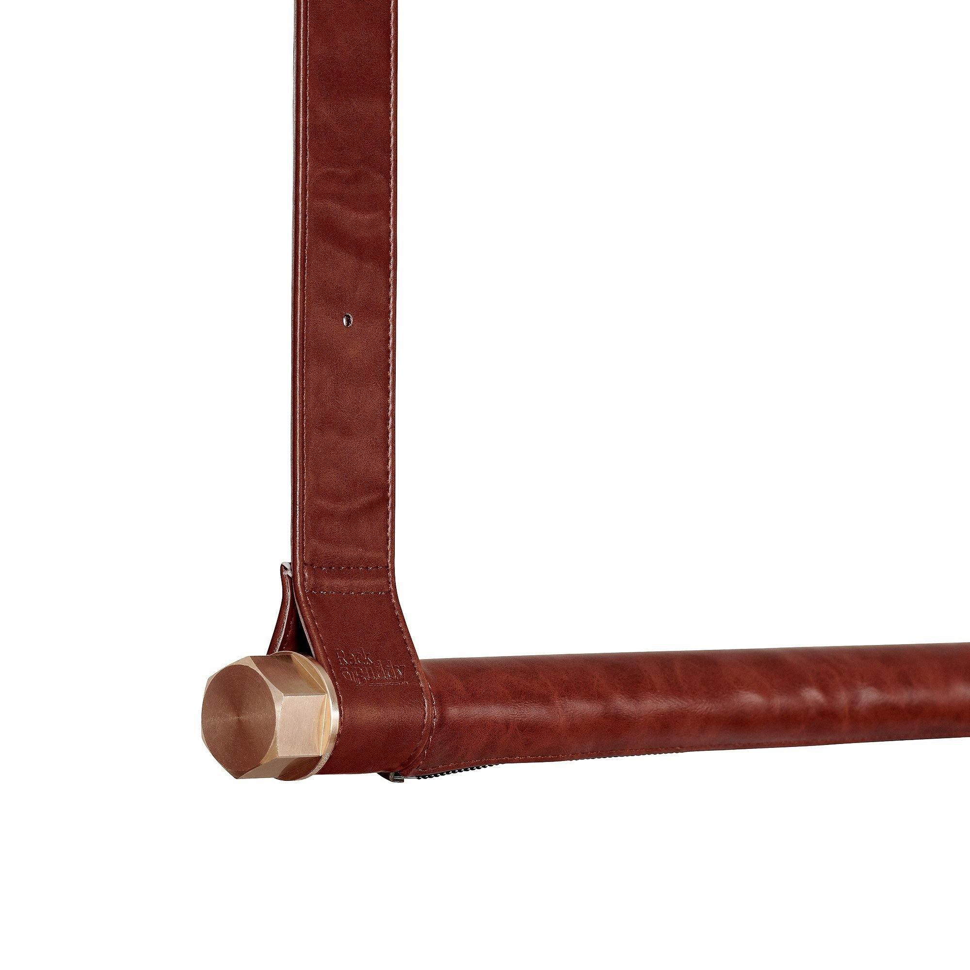 RackBuddy Leatherish - Dark brown leather & hanging strips covered with dark brown