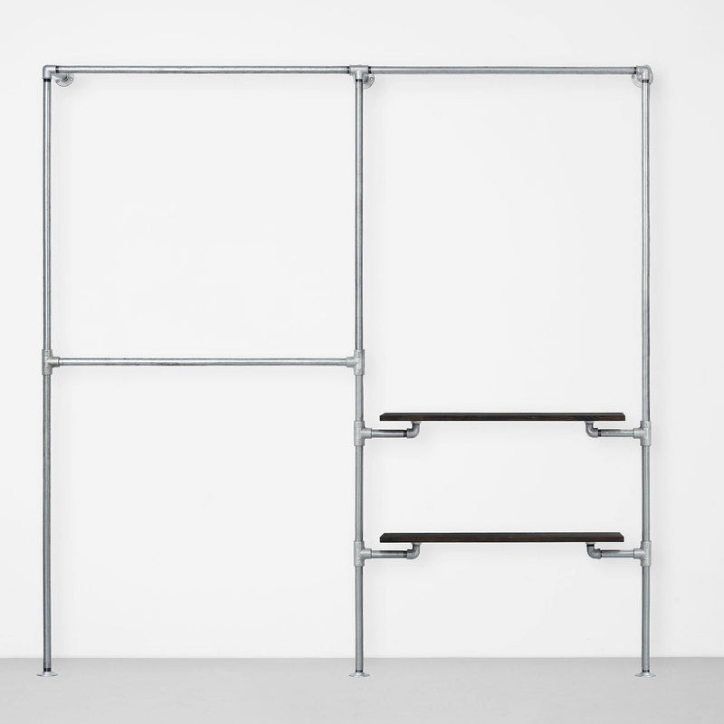 The Walk-In 2 Reihen Kleiderstangen System – (2 Stangen / 1 Stange + 2 Regale)