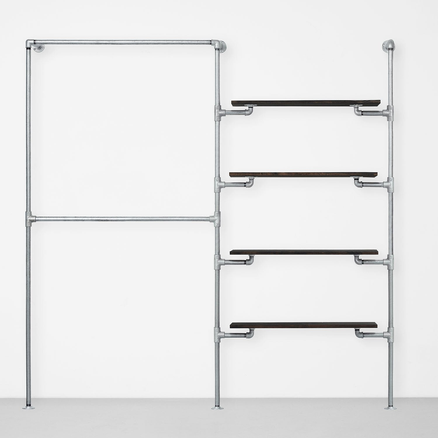 The Walk-In 2 Reihen Kleiderstangen System – (2 Stangen / 4 Regale)