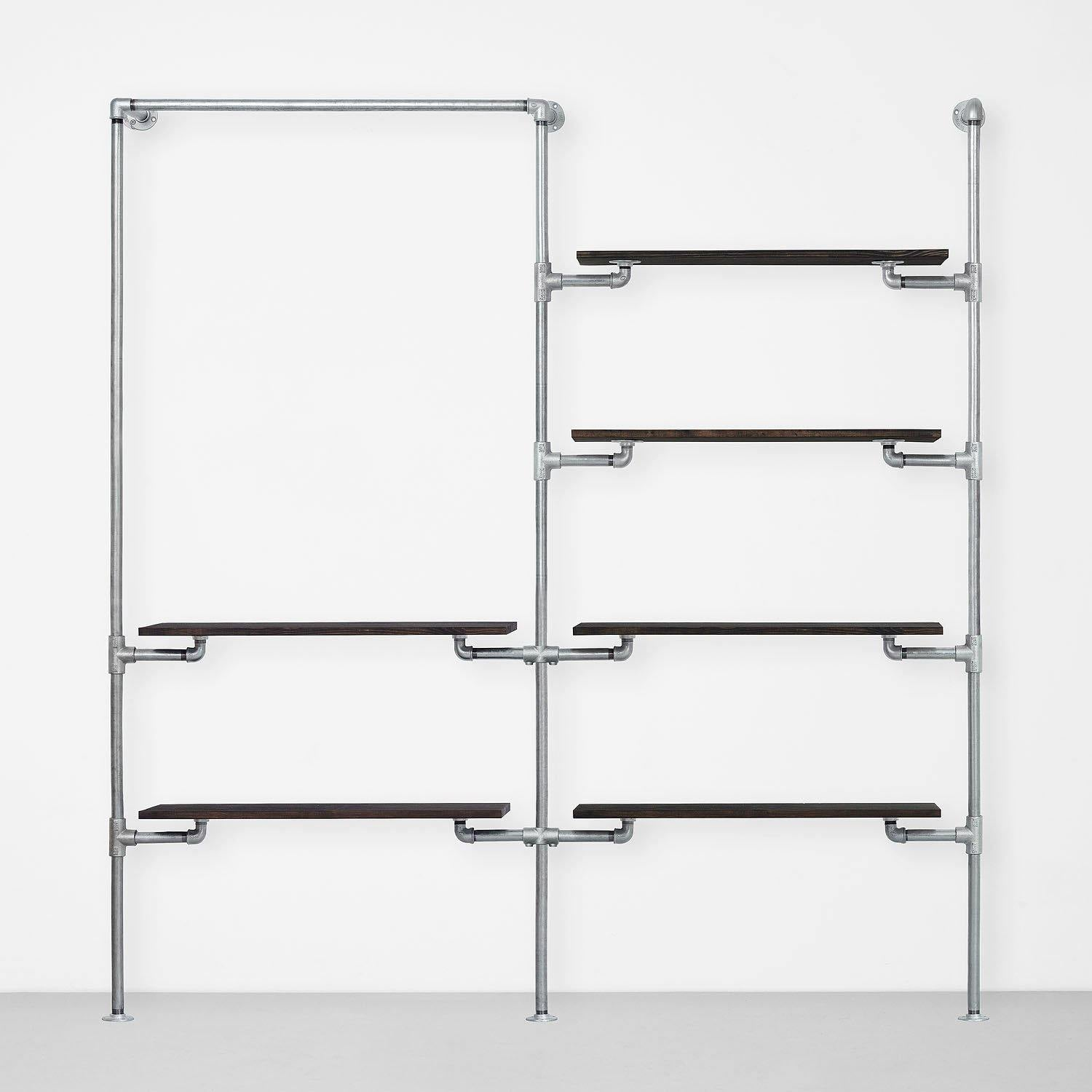 The Walk-In 2 Reihen Kleiderstangen System – (1 Stange + 2 Regale / 4 Regale)