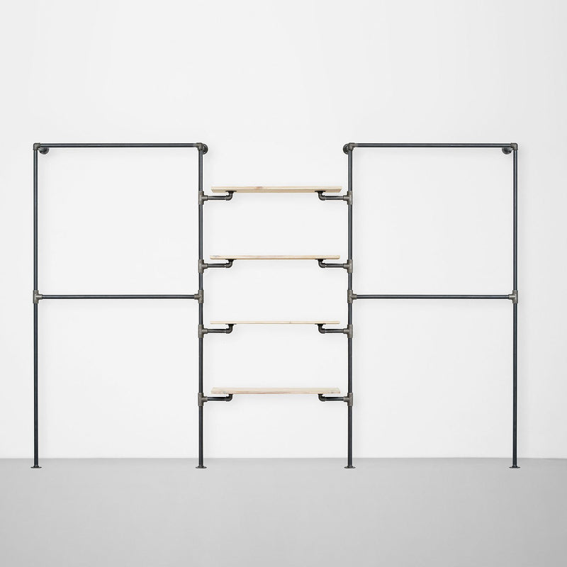 The Walk-In 3 Reihen Kleiderstangen System - (2 Stangen / 4 Regale/ 2 Stangen)