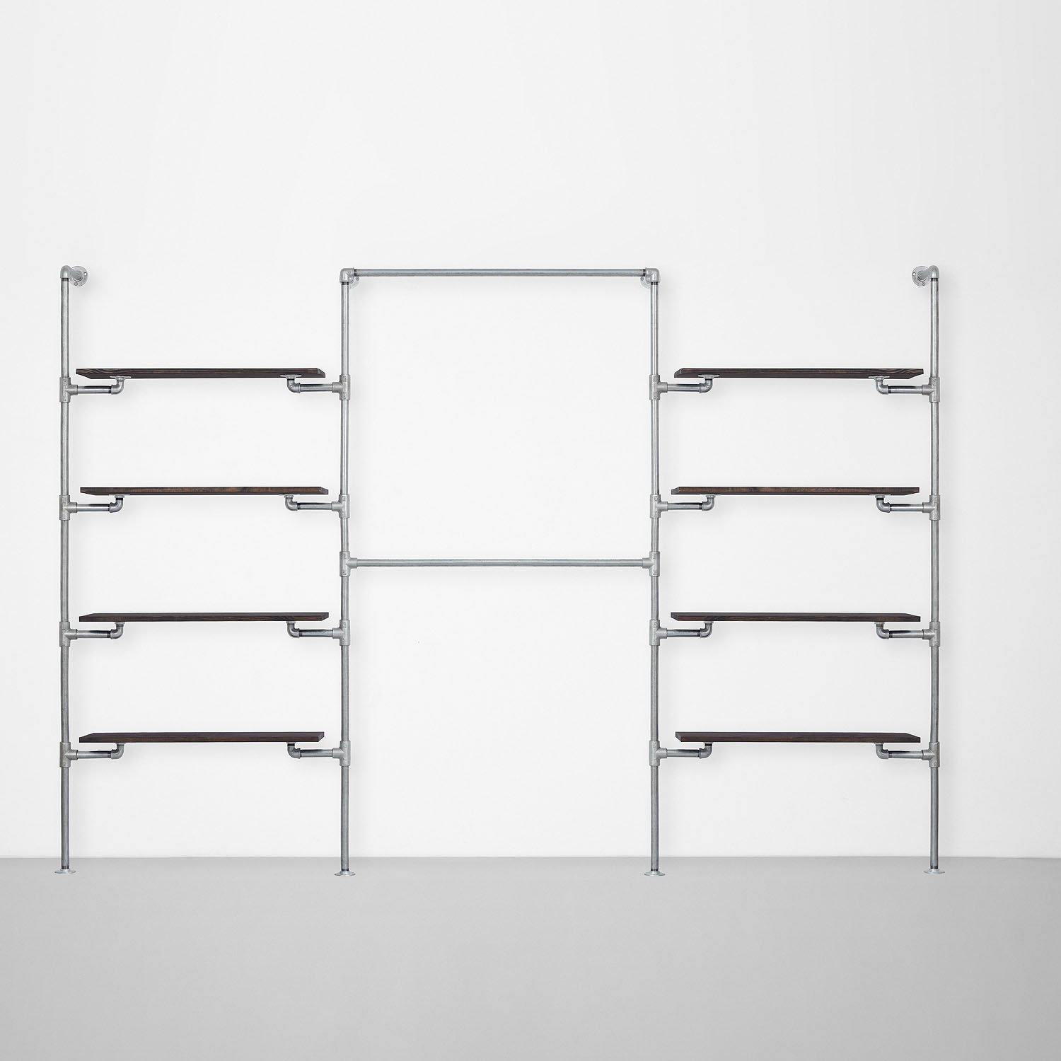 The Walk-In 3 Reihen Kleiderstangen System – (4 Regale / 2 Stangen / 4 Regale)