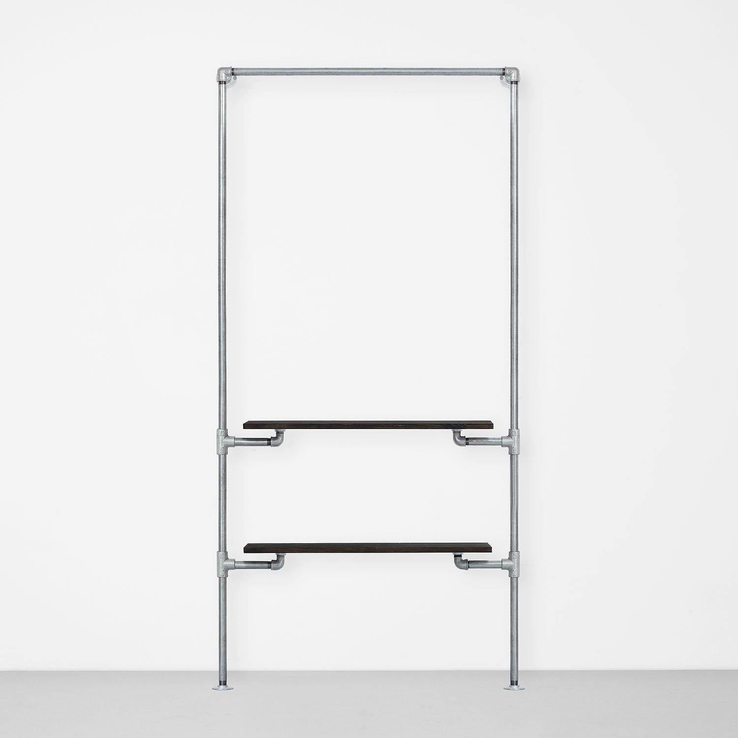 The Walk-In 1 Reihe Kleiderstangen System – (1 Stange & 2 Regale)