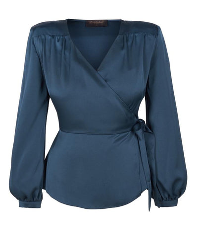 Grey Silky Cross Over Robe Style Blouse