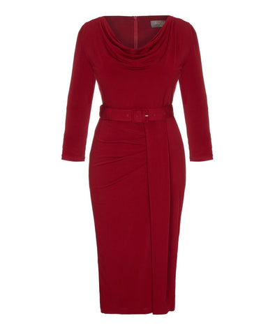 'Stretch Luxe' Scoop Neck Bombshell 3/4 Sleeve Jersey Dress Rio Red