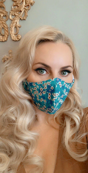 Bombshell Facemask With Filter Pocket Made With Mitsi Liberty Tana Lawn print Sky Blue