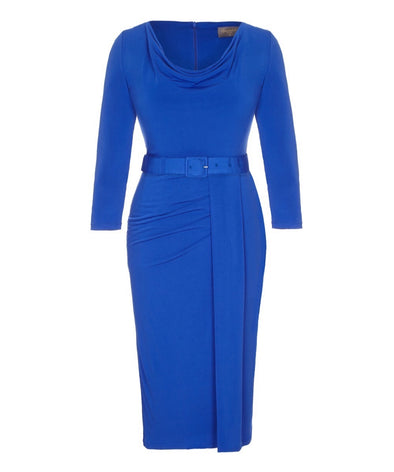 'Stretch Luxe' Scoop Neck Bombshell 3/4 Sleeve Jersey Dress Bright Blue