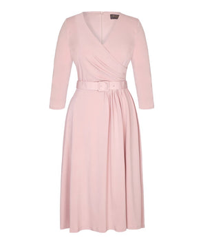 'Stretch Luxe' Flare Bombshell 3/4 Sleeve Jersey Dress Pink