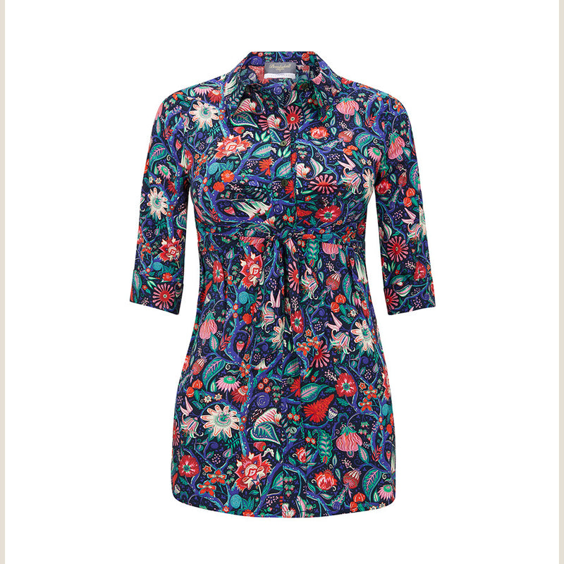 The Bombshell 'Tie Both Ways' shirt - Tree of Eden print in blue