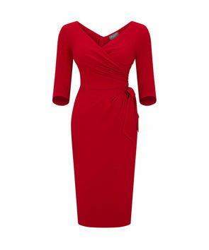 Confident 3/4 Sleeve Dress Red