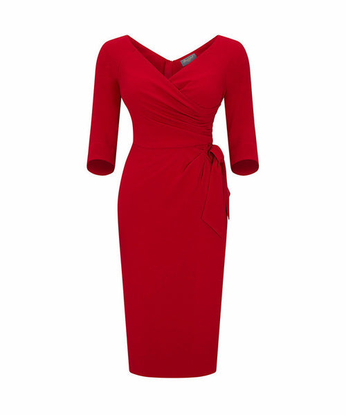 red mother of the bride dress wedding guest dress with sleeves wrap