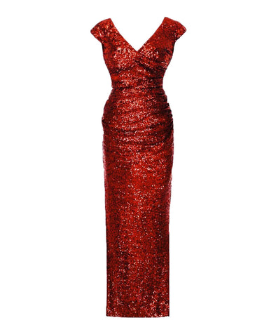 Cap Sleeve Red Sequin Gown
