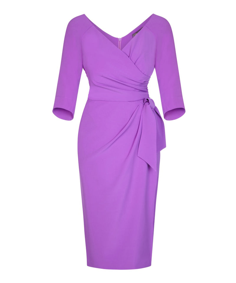 lilac wrap sarong dress with sleeves wedding guest dress dresses for weddings mother of the bride dress ascot dress past the knee 3/4 sleeve dress