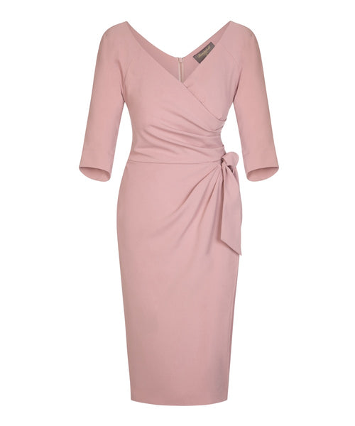 pink wrap sarong dress with sleeves wedding guest dress dresses for weddings mother of the bride dress ascot dress past the knee 3/4 sleeve dress
