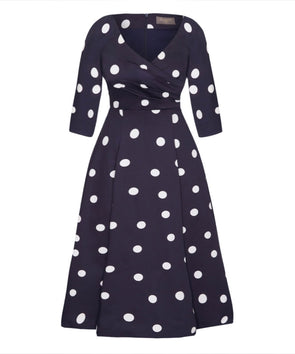 Edge of the Shoulder Midi Bombshell Dress in Navy Polka Dot