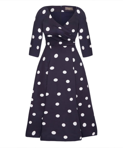 Navy Polka Dot Bombshell 'Edge Of The Shoulder' Midi Dress